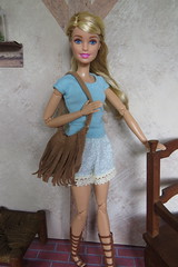 12. T Shirt, boho shorts, & fringed purse (Foxy Belle) Tags: doll barbie sew summer made move handmade diy craft make sewing fringed bag handbag purse shorts t shirt lace trim boho