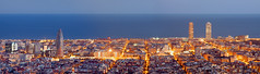 Barcelona skyline panorama at the Blue Hour (maksymsapon) Tags: barcelona panorama skyscraper tower street travel spain view business european urban landmark attraction panoramic skyline oval viewpoint building tourist sightseeing famous high architecture spanish city catalonia blue sky sight mediterranean sea water agbar office europe landscape cityscape capital bluehour hour