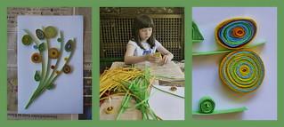 Paper Quilling  a father`s day present: flower bouquet Lotti beim Geschenk basteln für den Vatertag: Quilling einen Blumenstrauß, der nicht verblüht - und ein paar Röllchen von mir - at the allotment, im Garten