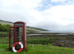 Red Telephone Box, Island of Rum, May 2017 (allanmaciver) Tags: red telephone box rum island iconic location white allanmaciver lifebelt west coast