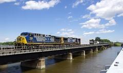 Pair of YN2 GE's (Michael Berry Railfan) Tags: yn2 csx csxt cn327 ge generalelectric ac4400cw bridge ottawariver kingstonsub quebec train freighttrain csxt508 csxt7798