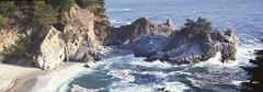 Waterfall On Beach (rubberducky_me) Tags: california usa waterfall beach water ocean linhoftechnorama film panorama