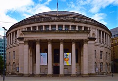 Central Library (rustyruth1959) Tags: nikon nikond3200 tamron16300mm manchester stpeterssquare manchestercentrallibrary library outdoor columns building architecture rotunda roof dome corinthiancolumns stone portico entrance gradeiilisted portlandstone flagpole flag unionflag sky clouds windows lamppost posters alamy