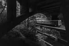 Dark and Stormy (sullivan1985) Tags: railroad railway train dark stormy storm thunderstorm rain arrowiii njtransit njtr njtr1344 montclairline glenridge secondriver essexcounty westbound commutertrain commuter passengertrain passenger river creek stream wall graffiti tags arch