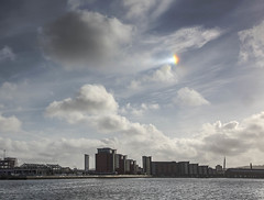 Sun dog over the Prince of Wales Dock (Jo Evans1 - Off and on for a while) Tags: sun dog parhelion prince wales dock swansea smq rainbow shaped