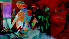 Mirror / Artist : Theda Tammas (Bamboo Barnes - Artist.Com) Tags: thedatammas secondlife virtualart surreal mirror woman figure broken dark vivid red green blue black orange bamboobarnes thegalleries exhibition installation digitalart photo painting texture