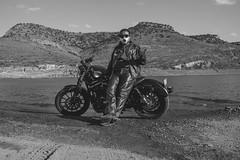 inspire (SeñorNT) Tags: mountain lake presa slp blackandwhite rider motorcycle