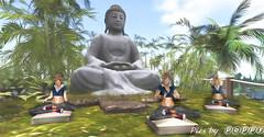 Meditation with Buddha (Poppys_Second_Life) Tags: popi popikone popikonesadventuresin2l popisadventuresin2l 2l secondlife virtualphotography poppy picsbyⓟⓞⓟⓟⓨ sl meditation buddha trio three disciples followers believers buddhist
