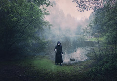 Times of epidemics. (Night photographs from Finland) Tags: mika suutari plague doctor mood mystical finland dark fog misty water