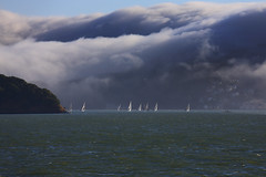 Coastal Fog - 2 (fksr) Tags: fog clouds coastalfog hills sailboats water landscape dramatic sanfranciscobay sausalito california