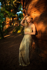 red rocks (Michael Kremsler) Tags: shooting model girl blond dress golden sensual portrait fashion nature outdoor red rocks forest tree shadow availablelight bokeh summer