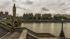 Over the Thames (BAN - photography) Tags: westminsterbridge bigben parliament thamesriver arches span photographer steps buildings architecture trees water d810 lamp clock 912am