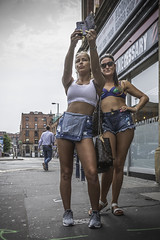 This is Manchester not Marocco (tootdood) Tags: canon70d streetcandid fromthehip manchester marocco stevenson square shootingtheshooter minimalclothing bikinis selfie mobile cell phone