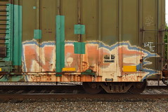 NOPE (TheGraffitiHunters) Tags: graffiti graff spray paint street art colorful freight train tracks benching benched boxcar nope
