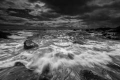 Elie Beach (Fifescoob) Tags: moody mono power sea can wave blackandwhite seascape landscape ocean beach rocky crash canon 5ds longexposure