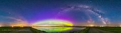 Arcs of the Aurora and Milky Way (Amazing Sky Photography) Tags: panorama 360â° aurora northernlights milkyway summer crawlinglake alberta ptgui auroraloval water reflection arcturus bigdipper arc arch twilight perpetual solstice saturn minigenie syrp 360°