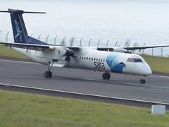 Bombardier Dash 8 approaching Horta 170616_022 (jimcnb) Tags: 2017 juni urlaub azoren azores açores faial horta airport castelobranco bombardier dash 8 cstrf sata
