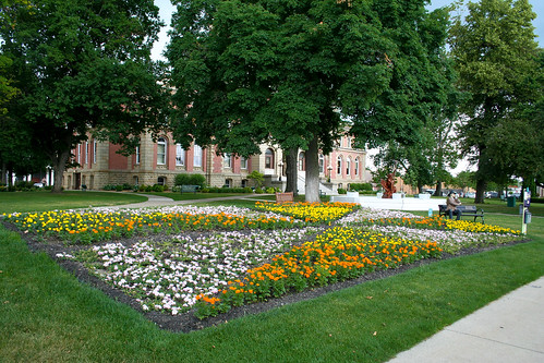 Elkhart County Courthouse, Goshen - Goshen on Fire garden
