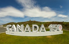 Canada 150 (Karen_Chappell) Tags: canada sign nfld newfoundland signalhill stjohns clouds blue green landscape scenery scenic cabottower avalonpeninsula atlanticcanada canadaday canada150 white letters wideangle fisheye canonef815mmf4lfisheyeusm