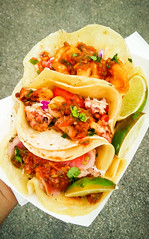 Mix & Match Tacos (alanosaur) Tags: 2017 toronto food truck meal lunch dinner busters sea cove mix match tacos seafood fried shrimp breaded grilled octopus seared tuna salsa coleslaw crema pico de gallo