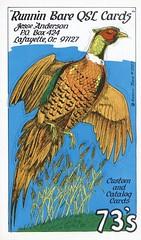 Runnin Bare #0507: Runnin Bare QSL Cards - Lafayette, Oregon (1) (73sand88s by Cardboard America) Tags: runninbare qsl qslcard cbradio vintage pheasant oregon artistcard