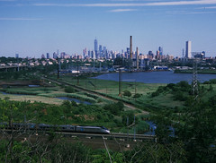 NY Skyline 332 (stevensiegel260) Tags: train railroad amtrak northeastcorridor acela newyorkskyline manhattanskyline newjerseymeadowlands