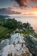 Dusk at The Valley of the Rocks (Julian Baird) Tags: landscape sunset nature bay rocks equipment outdoor southwestcoastpath weather hill filters devon southwest scene wilderness clouds seascape peak sea lightroomcc circularpolariser ridge ndgrad water coast cliff northdevon