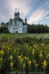Yellow (burntpixel.ca) Tags: canada manitoba winnipeg photo photograph rural fine art patrick mcneill burntpixel wrench777 beautiful spectacular landscape nature prairie vertical sonya7r2 sonya7rii church religious religion green blue yellow plants flower flowers clouds old abandoned history historical dauphin forgotten decay ruin rurex ukrainian ukranian field