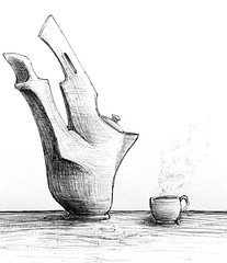 Strange Tea (Marcos Telias) Tags: taza te teapot kettle teacup ink bolígrafo ballpoint dibujo draw arte drawing sketch illustration ilustración boceto bosquejo artista artist pen lápiz fantasy