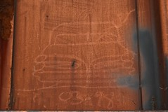 CARGUY (98) (TheGraffitiHunters) Tags: 1998 98 graffiti graff spray paint street art colorful freight train tracks benching benched cadillac moniker streak markal boxcar carguy ribbet