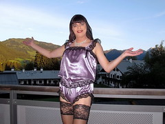 Balcony view (Paula Satijn) Tags: sexy hot girl gurl tgirl satin silk shiny teddy teddie playsuit lace lilac black stockings stockingtops happy smile mountains view outdoor