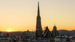 Sun setting over Vienna rooftops (BAN - photography) Tags: ststephan domes steeple spire rooftops vienna churches sunset architecture d810