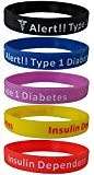 "5 Pack - ""Diabetes Type 1 Insulin Dependent"" Silicone Bracelet Wristbands (trolleytrends) Tags: bracelet dependent diabetes insulin pack silicone type wristbands"
