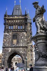 Standing tall (Leaning Ladder) Tags: prague praha czech czechrepublic charlesbridge statue sculpture leaningladder bohemia canon 7d bridges