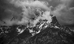 Cloud Caught in the  Mountain (FedorPhotography) Tags: storm dramatic bnw blackandwhite landscape grandtetons