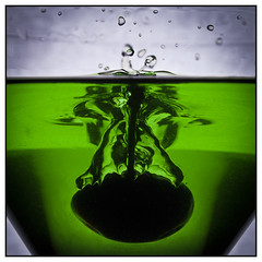 Cherry Drop (EddieAC) Tags: macromondays silhouette water glass green splash