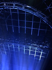 Looking up at the Hydro roof, Glasgow ❤ (markshephard800) Tags: scotland architecture grid metal blue lights normanfoster glasgow