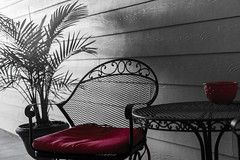 Empty (yazanrahhal1) Tags: red table chair plant tree monochrome sony a7 samyang 50mm f14 fullframe composition outdoors simple