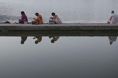 Reflection... (Syahrel Azha Hashim) Tags: portrait nikon street reflection lake 35mm holiday pc9 simple morning indian details portraiture india pushkar dof holylake humaninterest people handheld streetphotography 2015 vacation moment rajasthan light culture naturallight traditionalclothing colorful shallow d300s travel syahrel elder pushkarlake colors getaway holyplace sittingdown prime detail
