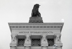 The pavilion «Meat Industry» at the All-Russia Exhibition Centre (VDNKh) (Andrew Sigurow) Tags: analogue animal animals architecture bw building buildings bull bulls film films grain light lights outdoors outside pillar pillars roof roofs sculpture sculptures sign signs skies sky spring ussr wall walls yashica moskva moscow russia ru