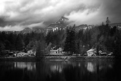 A temporary escape (rowjimmy76) Tags: columbiagorge stevenson pnw pacificnorthwest washington bw black white landscape table mountain cascademountains water moody weather rain clouds canon