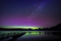 Northern Lights and Milky Way over Lake McDonald, Glacier National Park, Montana (diana_robinson) Tags: northernlights milkyway lakemcdonald glaciernationalpark montana summersky nightphotography nightsky auroraborealis silhouette alone solitude contemplation nikonflickraward