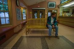 Waiting for the Ferry (elrick.williams) Tags: 2013 21mmsuperelmar bench clock ferry leicam9 marthasvineyard passenger ticketcounter vineyardhaven waitingroom