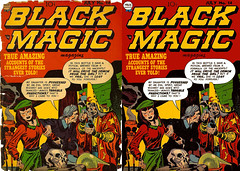 Black Magic Magazine Before and After (kevin63) Tags: lightner comicbook cover blackmagic magazine jackkirby joesimon wizard alchemist pointyhat woman beret possessed 50s 1950s old vintage retro restored retouched antique dime