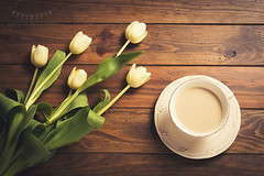 Tulips and coffee (Ramón Antiñolo) Tags: cottage vintage retro stilllife lifestyle traditional kitchen cozy nostalgia overheadview topview flatlay wooden table spring tulip flower floral blossom bloom crockery coffee drink espresso cup brown caffeine beverage morning hot milk