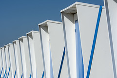Beach huts with blue straps (on Explore) (Jan van der Wolf) Tags: map16192ve beachhuts strandhuisjes beach blue blauw straps spanbanden herhaling repetition perspective perspectief beachcabins strand