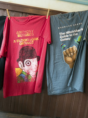 T's (milfodd) Tags: april 2017 teeshirts bookcovers clockworkorange thehitchhikersguidetothegalaxy