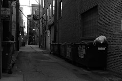 """Near West Side Alley"" - Chicago - 19 Jun 2017 - 5D IV - 090 (Andre's Street Photography) Tags: chicago19jun20175div chicago near west side westside alley backalley dark everning afterdark dusk atdusk lighting city cityscape urbanurban landscape urbanphotography shadows evil lurks metropolis metro innercity apartment buildings dumpsters garbage cans light poles wires lamps fineart artisticphotography photography bw bwphotography zwartwit noiretblanc blancoynegro schwarzweiss schwarz weiss zwart wit stad stadt ville steeg photobyandrevanvegten chicagoist chicagoistphotos bwphoto fineartphoto chicagojournal chicagomagazine chicagotribune chicagoreader prime lens ef efprime canon eos 5div ef40mmf28stm duncansaddition chicagohistorymuseum garbagecans trash trashcans"