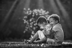 Twins! (Aga Wlodarczak) Tags: child children boys twins outdoor naturallight backlit summer canon 6d 135mm 135mmf2 portrait family brothers blackandwhite bw boy
