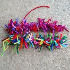 Two crochet scrap yarn cat tails (crochetbug13) Tags: crochet crocheted crocheting crochetcat crochetcats amigurumicat amigurumicats scrapcat scrapcats scrapyarn scrapyarncrochet crochettoy